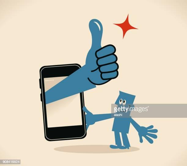 stockillustraties, clipart, cartoons en iconen met zakenman die houden van een mobiele telefoon, grote uitdelen van de slimme telefoon met duimen omhoog gebaar - goed nieuws