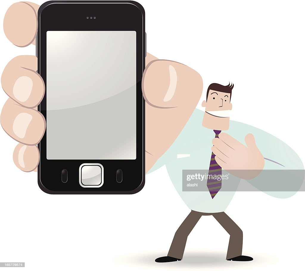 Businessman holding a smartphone and showing something