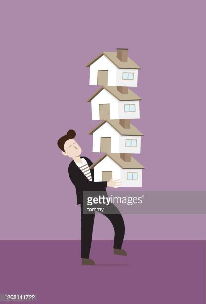 businessman holding a stack of houses - commercial real estate stock illustrations