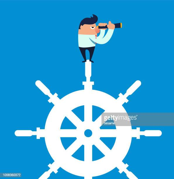 businessman holding a telescope standing on the steering wheel - team captain stock illustrations