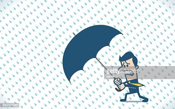businessman holding an umbrella in the rainstorm - hurricane stock illustrations, clip art, cartoons, & icons