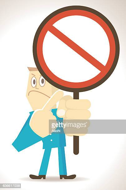 businessman holding and pointing at an empty prohibition sign - refusing stock illustrations, clip art, cartoons, & icons