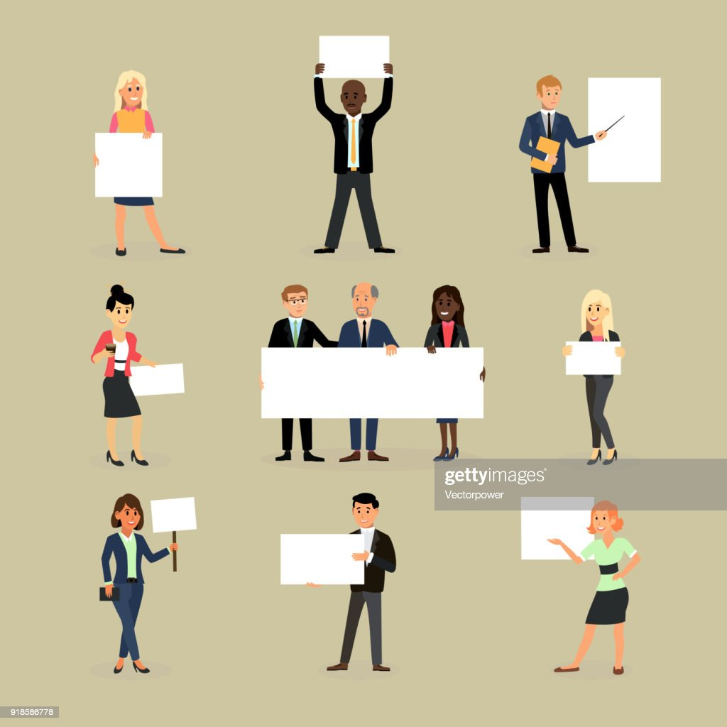 Businessman holding banner vector business woman character holds white banner or empty poster illustration set of team standing with placard isolated on background