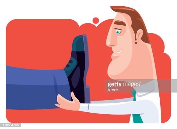 businessman holding big leg - massage funny stock illustrations
