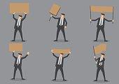 Businessman Holding Blank Placards Icon Set