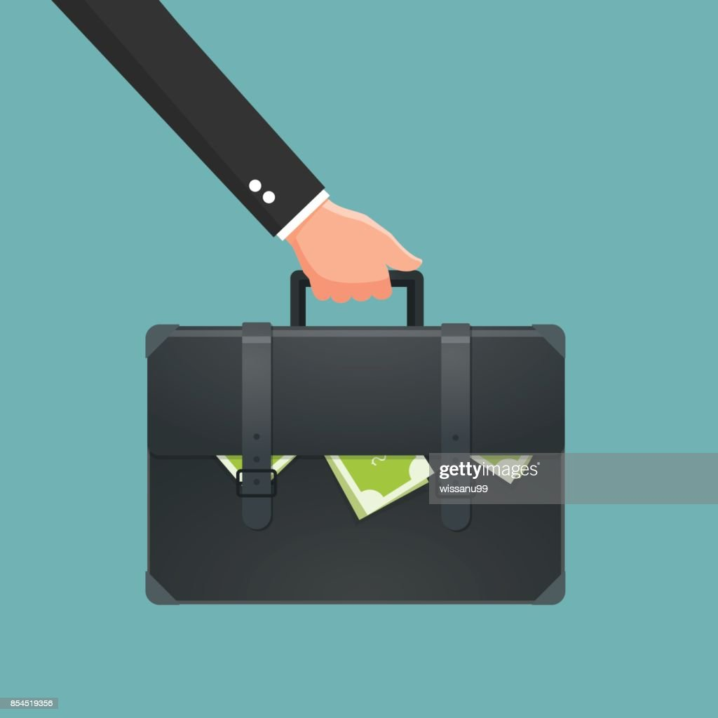 Businessman holding briefcase with money. Vector illustration.