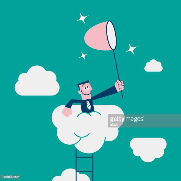 Geschäftsmann Holding Schmetterlingsnetz (Netting), Aufstieg und jagen, Träumer (mit dem Kopf in den Wolken)