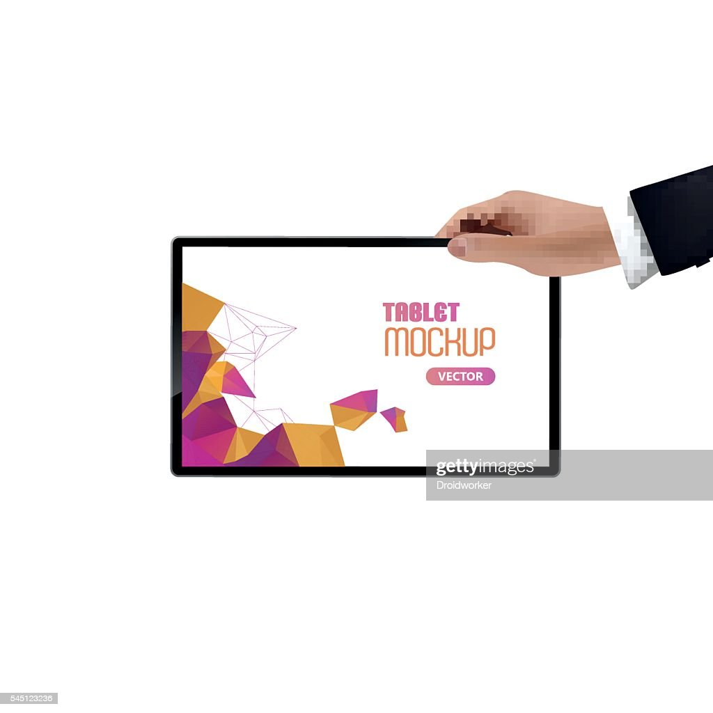 Businessman holding digital tablet, isolated with polygon background on screen.