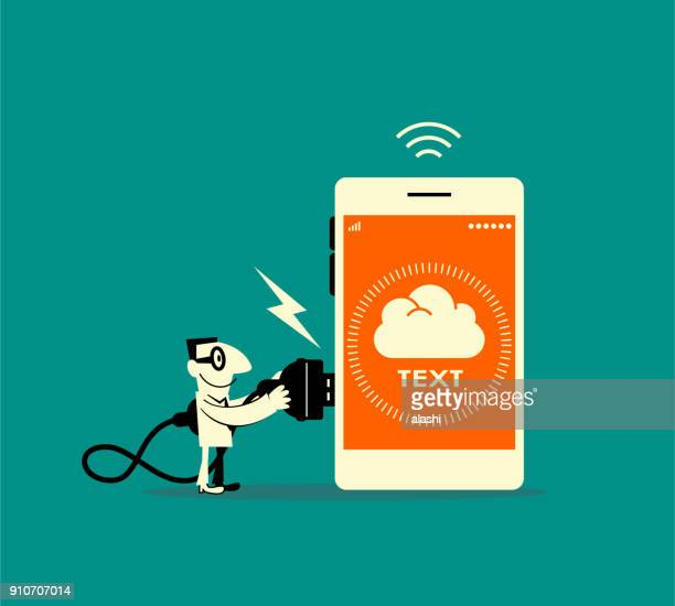 businessman holding electric plug (usb) connecting to smart phone with cloud app sign - usb cord stock illustrations, clip art, cartoons, & icons