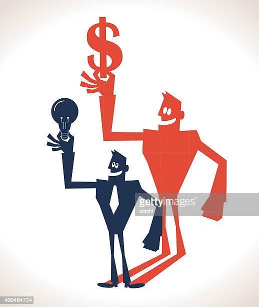 ilustraciones, imágenes clip art, dibujos animados e iconos de stock de empresario sostiene idea de bombilla de luz y sombra de la moneda dólar de retención de fondos - un solo hombre