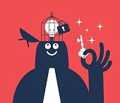 Businessman holding key, open head with idea bulb in birdcage