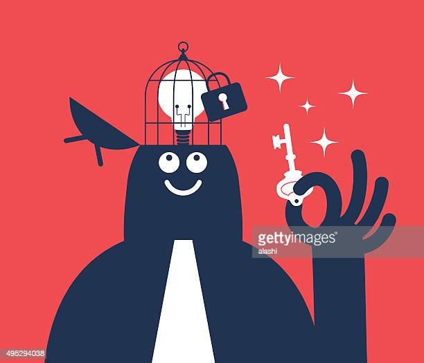 businessman holding key, open head with idea bulb in birdcage - freedom stock illustrations