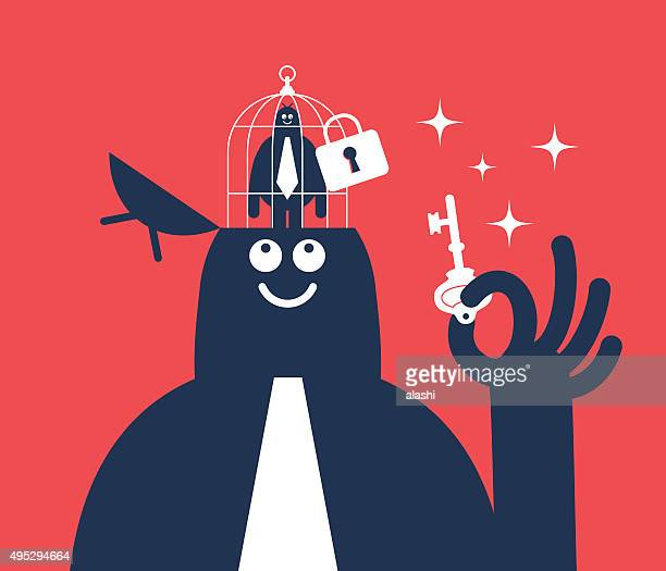 businessman holding key, open head with small man in birdcage - unlocking stock illustrations