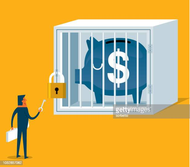 businessman holding key - cage stock illustrations, clip art, cartoons, & icons