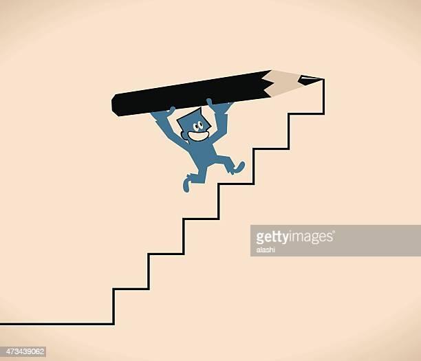 Empresario sosteniendo un dibujo lápiz, escalera hacia arriba, a pasos de escalera