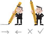 Businessman Holding Large Pencil