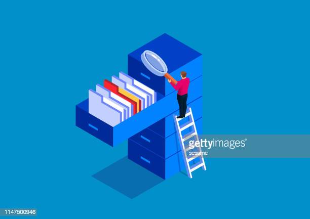 businessman holding magnifying glass looking for documents - storage compartment stock illustrations