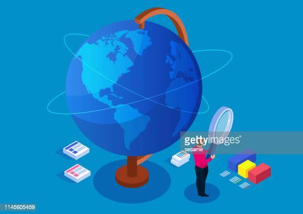 illustrazioni stock, clip art, cartoni animati e icone di tendenza di businessman holding magnifying glass studying globe, global finance - direzione