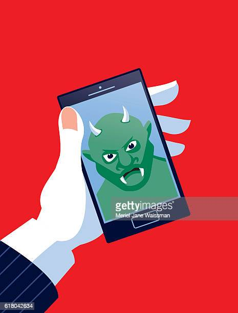 Businessman Holding Mobile Phone with Troll