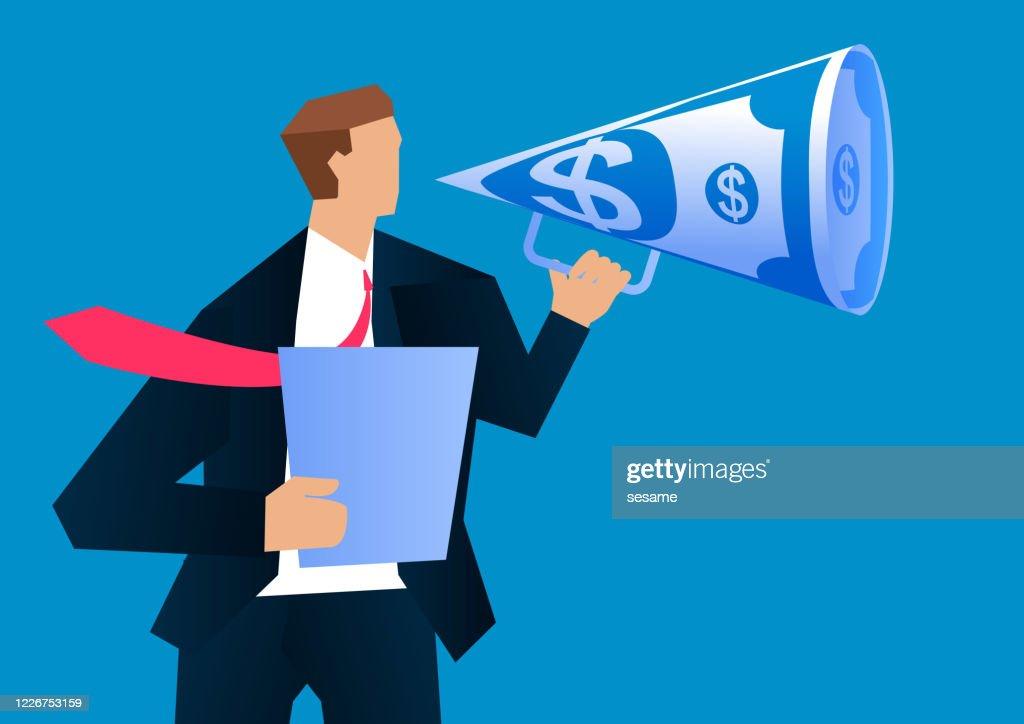 Businessman holding money megaphone shouting : stock illustration