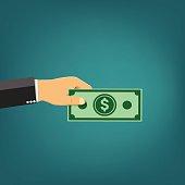Businessman holding money - vector illustration