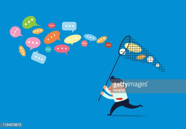 businessman holding net to catch conversation bubble - catching stock illustrations