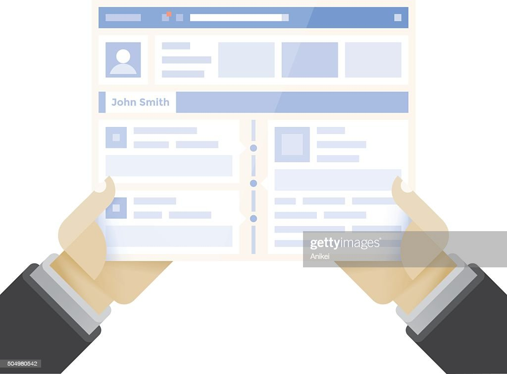 Businessman holding online business internet page with social network site
