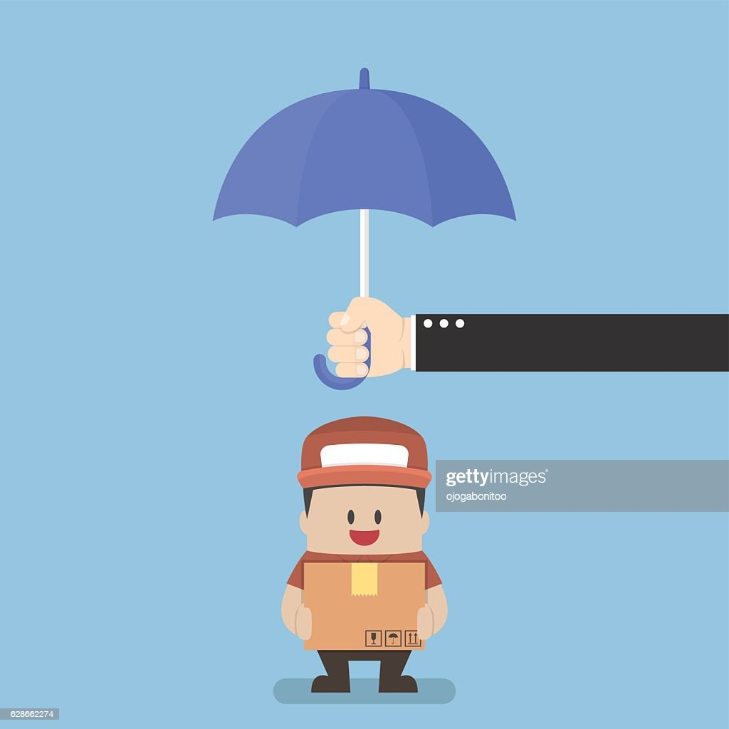 Businessman holding parcel box protected by big umbrella
