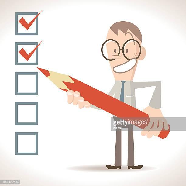 ilustrações, clipart, desenhos animados e ícones de empresário segurando lápis, colocando marca de seleção na caixa de seleção (verificado, não despachada) - preencher um formulário