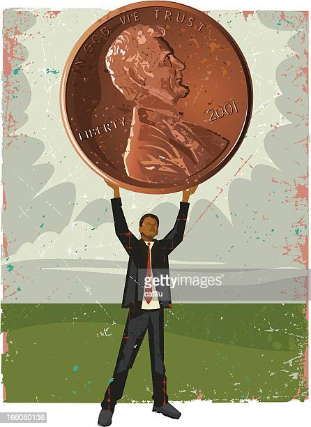 businessman holding penny - fiscal year stock illustrations