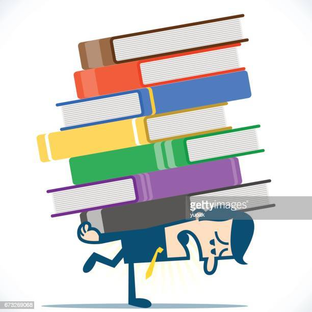 businessman holding pile of heavy books - piggyback stock illustrations, clip art, cartoons, & icons