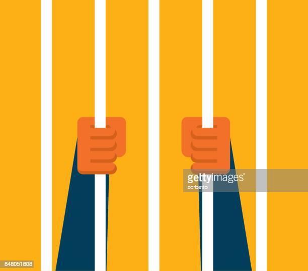 businessman holding prison bars - overworked stock illustrations