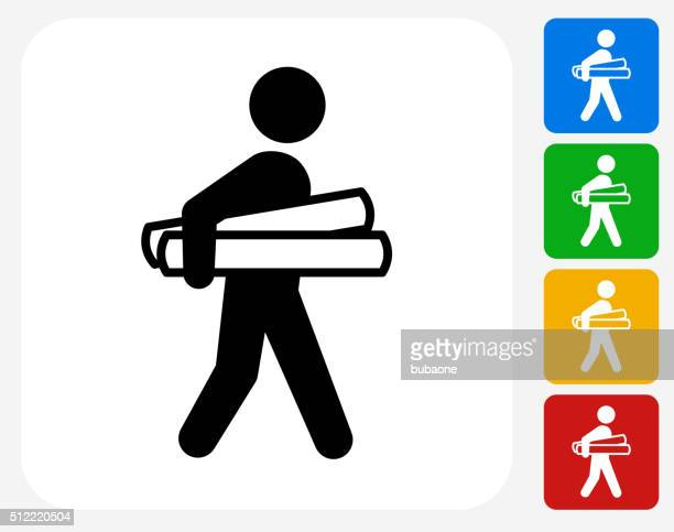 Businessman Holding Projects Icon Flat Graphic Design