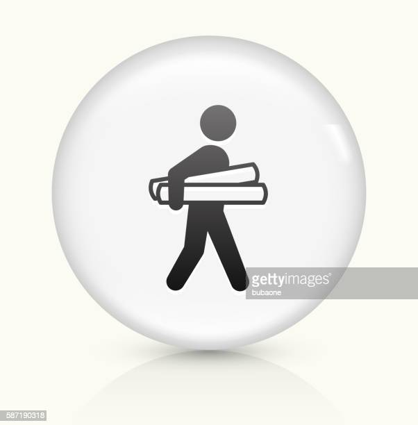 Businessman Holding Projects icon on white round vector button