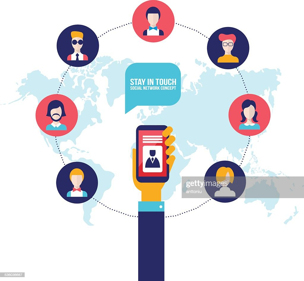 Businessman holding smart phone with icons Social network communication concept