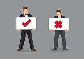 Businessman Holding Tick and Cross Signs Vector Cartoon Illustra