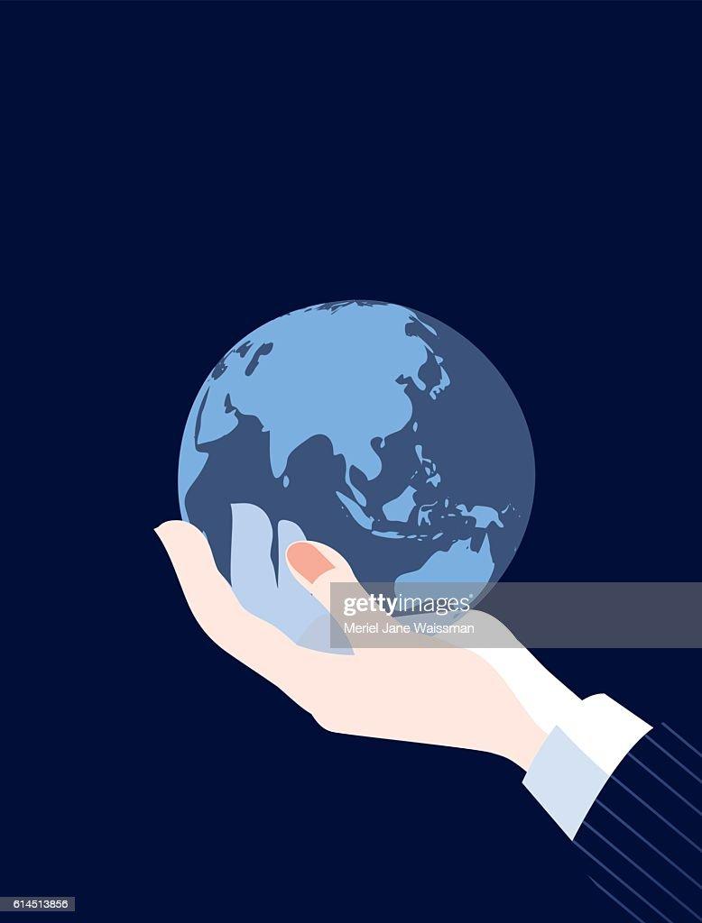 Businessman holding world globe map asia china russia and australia businessman holding world globe map asia china russia and australia vector art gumiabroncs Images