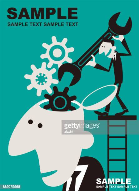 Businessman holding wrench on ladder above giant man open head with gear