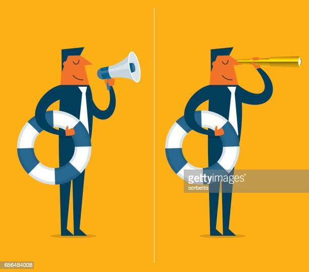 businessman holds a life preserver - buoy stock illustrations, clip art, cartoons, & icons