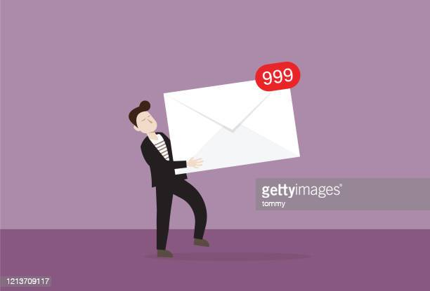 businessman holds a mail with notification - e mail inbox stock illustrations