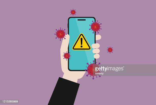 businessman holds a mobile phone with a virus - pathogen stock illustrations