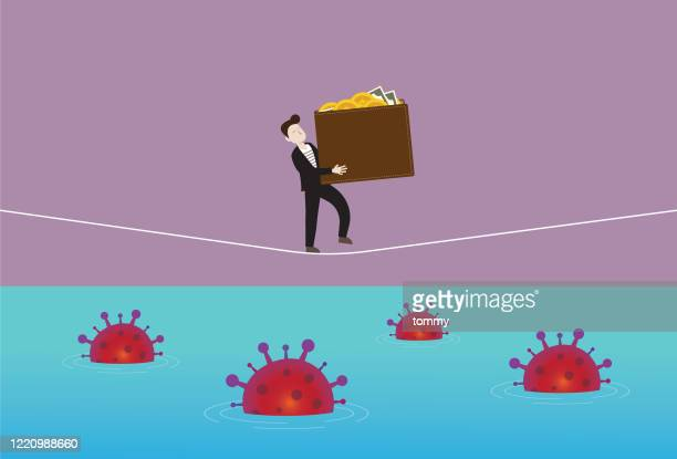 businessman holds a wallet and walking on a rope with a virus in the sea - acrobatic activity stock illustrations