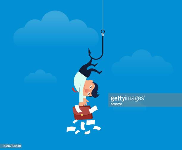 businessman hooked up by hook and hung in mid air - phishing stock illustrations