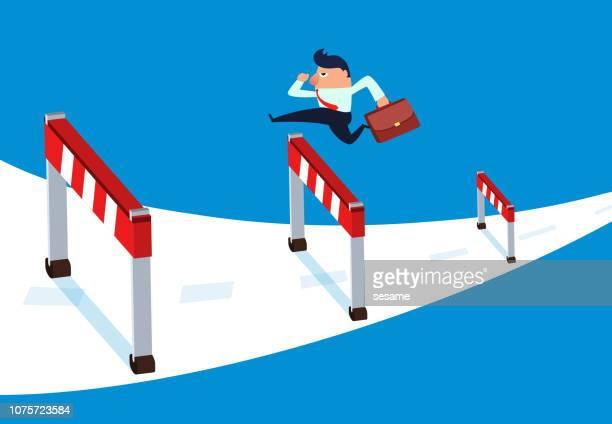 ilustrações de stock, clip art, desenhos animados e ícones de businessman hurdles forward - pista de atletismo