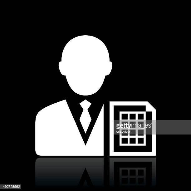 ilustrações, clipart, desenhos animados e ícones de empresário ícone em um fundo preto. whiteseries - livro de exercícios