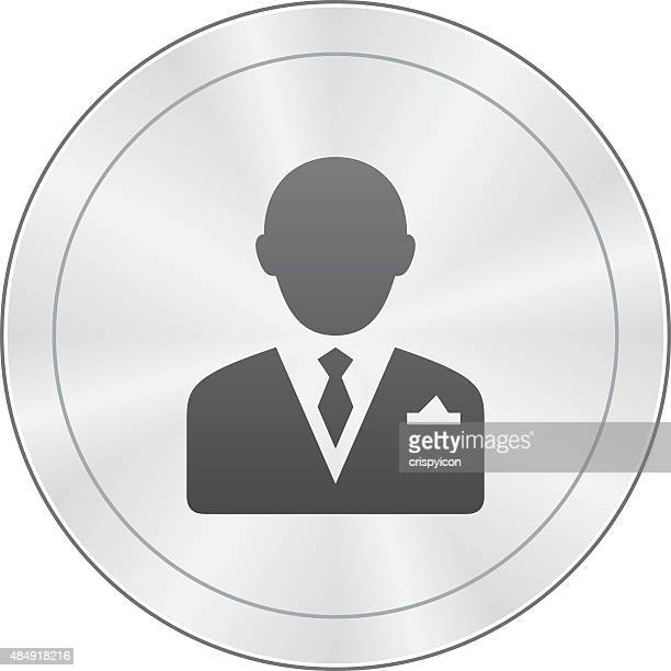 Businessman icon on a round button.