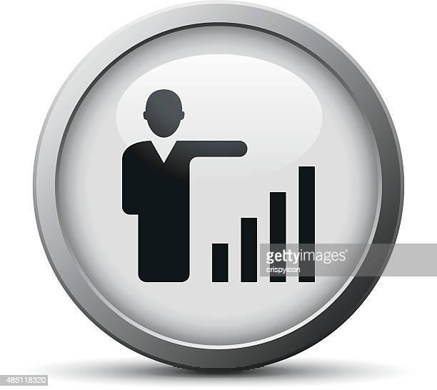 Businessman icon on a silver button.