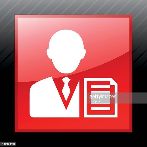 Businessman icon on a square button.
