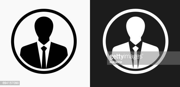 Businessman Icon on Black and White Vector Backgrounds
