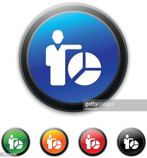 Empresário no ícone redondo botões.